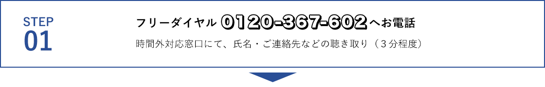 TEP01 フリーダイヤル0120-367-602へお電話 時間外対応窓口にて、氏名・ご連絡先などの聴き取り(3分程度)